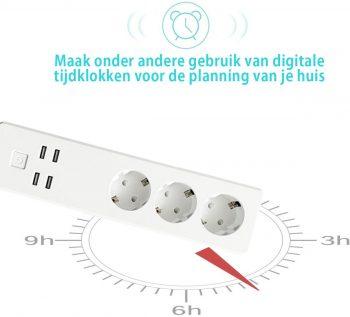 Eyzo Slimme WIFI Stekkerdoos | 3x Stekker & 4x USB